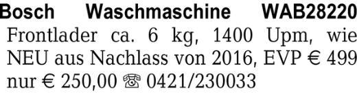 Bosch Waschmaschine WAB28 -