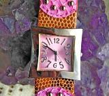 Originelle Damen-Armbanduhr, Edelstahl, Lederarmband, Applikationen, Zustand neuwertig! - Diepholz