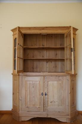 Antiker Vitrinenschrank, Weichholz massiv - Stuhr