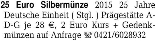 25 Euro Silbermünze 2015 -
