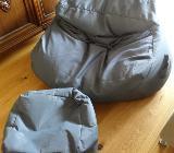 Sitzsack mit Fusshocker grau/anthrazit - Achim