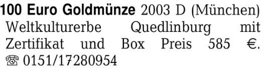 100 Euro Goldmünze 2003 D -