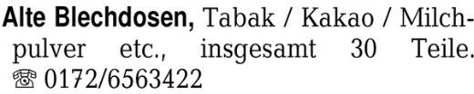 Alte Blechdosen, Tabak / -