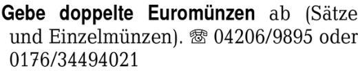Gebe doppelte Euromünzen -