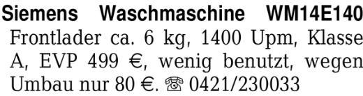 Siemens Waschmaschine WM1 -