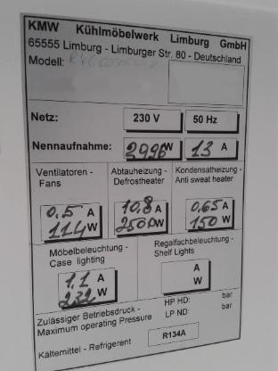 GEBRAUCHTES WANDKÜHLREGAL KMW 6 TÜRIG - Wilhelmshaven