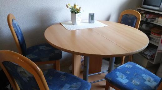 Esszimmertisch mit 4 Polsterstühlen, Esszimmergarnitur - Wilhelmshaven