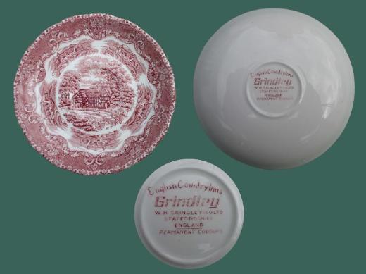 Grindley English Country Inns, rot: 1 Untertasse für Kaffeetasse, unbenutzt, keine Glasurrisse; zugunsten Tierschutz - Achim