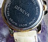 "Flache ""GENEVA"" Damen-Armbanduhr, Lederarmband, Batterie neu, kaum getragen - Ansehen. - Diepholz"