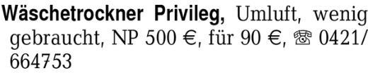 Wäschetrockner Privileg, -