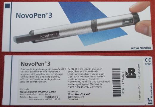 Novo Nordisk NovoPen 3: Insulin-Pen, neu + ovp.; Farbe: silber; mit Gebrauchsanleitung + Etui. zu Gunsten Tierschutz - Achim