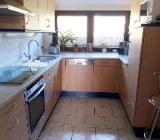 Küche Einbauküche Buche Kranzleiste blau - Cuxhaven