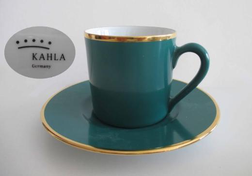 Kahla Porzellan: Mokkatasse; Espressotasse; grün mit Goldrand; mit Untertasse; zugunsten Tierschutz - Achim