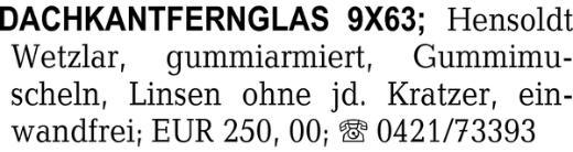 Dachkantfernglas 9x63, He -