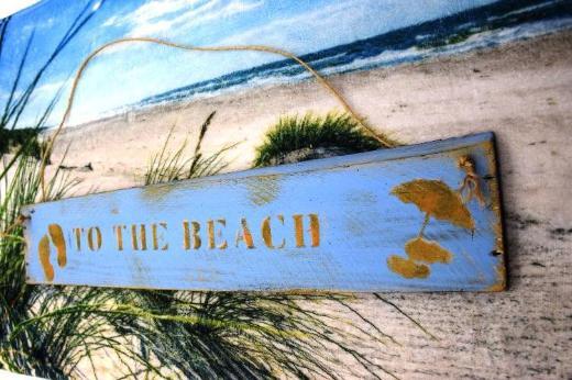Holzschild To the Beach,Gartenschild,Türschild,Sommerdeko,Holzschild,Holzdeko,Wanddeko,Türschild,Gartendeko,Wanddekoration,Strandkorb,Schiff,Wohnwagen,Wohnmobil - Stuhr
