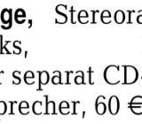 Kl. Musikanlage, Stereora -