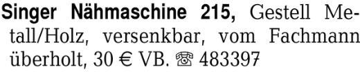 Singer Nähmaschine 215, G -