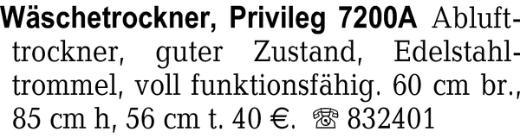 Wäschetrockner, Privileg -