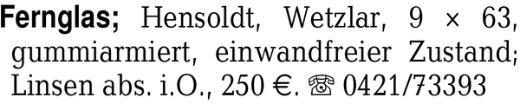 Fernglas, Hensoldt, Wetzl -