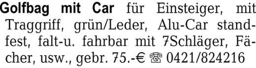 Golfbag mit Car für Einst -