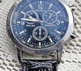 "Neue ""Arbeits""-Herren-Armbanduhr, Lederarmband, Batterie neu, kleiner Fehler! - Diepholz"