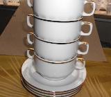 4 weiße Suppentassen mit Goldrand von Eschenbach ~ Inhalt 250 ml - Delmenhorst