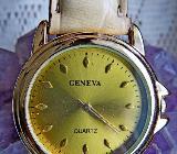 """GENEVA"" Damen-Armbanduhr, flach, Lederarmband, Batterie neu, kaum getragen! - Diepholz"