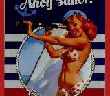 """Maritime Blech-Postkarte """"Ahoy Sailor""""; Blechkarte; Metall-Postkarte; mit Umschlag; versendbar; ovp., originalverpackt. 100% zugunsten Tierschutz - Achim"""