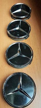 4 x Stück 75 mm original MB Naben Deckel Radnaben Kappen Schwarz Chrom - Verden (Aller)