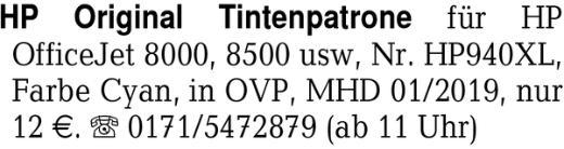 HP Original Tintenpatrone -
