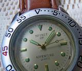 2 Edelstahl-Marken-Armbanduhren, Lederarmband, Batterien leer, sonst top Zustand! - Diepholz