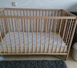 Babybett aus Holz 60x120 mit Matratze - Grasberg