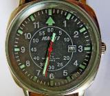 "Sport-Armbanduhr, Edelstahl, ""Flieger-Optik"", Datum, Lederarmband, Batterie neu, top Zustand! - Diepholz"