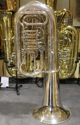 Große Schenkelaars Es - Tuba, 4 Ventile, versilbert inkl. Koffer