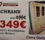 NEU: Schrank von Wolfmöbel, weiß/beige, Echtholz-Shisham - Delmenhorst