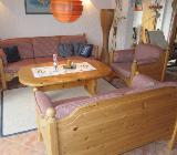 Dänische Vollholz-Wohnzimmer-garnitur mit Tisch - Grasberg