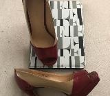 High Heels in tollem beige-roten Lackdesign -  Gr. 36 - Wagenfeld