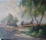 Ölgemälde Heidelandschaft m. Schafherde, von G. Soller, ca. 1920 - Delmenhorst