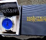 Marken-Armbanduhr, Edelstahl, 5 ATM, Mondphase, Lederarmband, Anleitung, neu in Uhrbox! - Diepholz