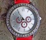 """Angesagte """"CHRONO-Look""""-Marken-Armbanduhr aus Edelstahl, mit Lederarmband und Strass-Lünette - neuwertig! - Diepholz"""