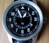 Neuwertige Edelstahl-Marken-Armbanduhr, Leder-Armband, 24.Std.-Anzeige, Datum - Top! - Diepholz