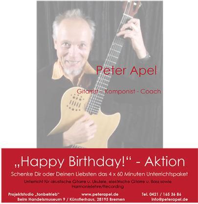 Happy Birthday-Aktion 4x Unterricht Gitarre oder Ukulele - Bremen