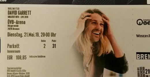 David Garrett Ticket Bremen 21.05.19