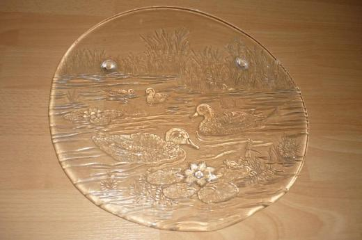 "Glasteller (Motiv: ""Ente"" / ""Blume"")"