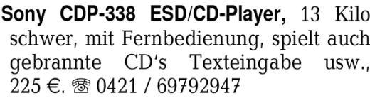 Sony CDP-338 ESD/CD-Playe -