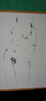 Zeichnung (weiblicher Akt) in Holz-Wechselrahmen - Wilhelmshaven
