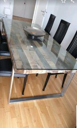Echtholz Esstisch Chrom Glas Holz wie NEU - Bremen