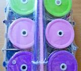 Glas-Trinkgläser mit Deckel für Trinkhalm-Öffnung, 6 Stck., 0,5 ltr., mit Aufdruck, neu in OVP! - Diepholz