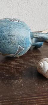 Griechische Delphin-Vase - Handbemalte Keramik - Worpswede