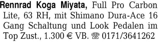 Rennrad Koga Miyata, Full -
